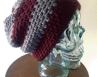 Slouch Beanie, Winter Hat, Crochet Wool Beanie, Cold Weather Accessory, Striped Beanie