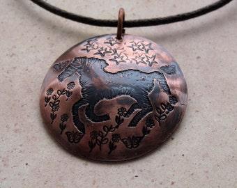 Etched Copper Horse Necklace