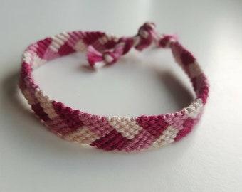 Pink braid friendship bracelet / cotton yarn