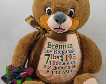 Personalized Stuffed Animal, Signature Plush Bear Cubbie Stuffie with Birth Announcement New Baby Gift Toy, Felicia's Fancies Baby Boutique