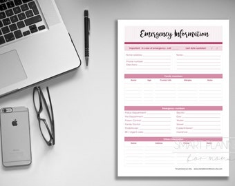 """Emergency Information, planner insert, printable. Emergency contact information. A4 and US Letter (8.5""""x11"""") Size. Instant download."""