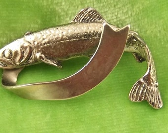 Vintage Silvery Fish Pin with a Banner