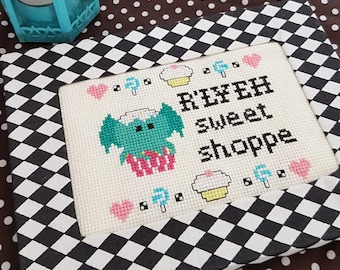 R'Lyeh Sweet Shop Framed Cross Stitch - Cthulhu Mythos  Inspired Ready to Hang Original Pattern HP Lovecraft Fan Art by Glamasaurus