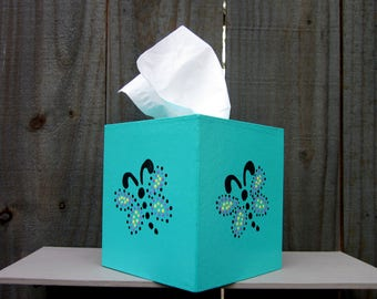 Tissue Box Cover, Turquoise, Dragonfly, Home Decor, Tissue Cover, Kids Room, Living Room, Nursery, Boutique Size, Tissues, Hand Painted