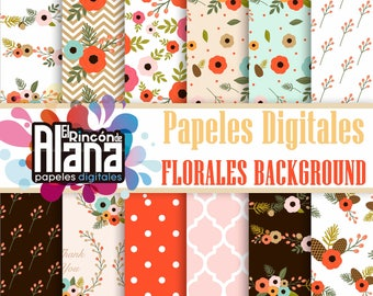 12 Digital Papers 12 Floral Background