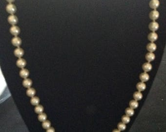 Vintage  Ivory Glass  Pearl Necklace  (Knotted)