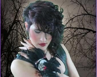 Gothic Wristlet, 3D RAVEN, Steampunk Black Feathers Poe Leather Neo Victorian Wristlet