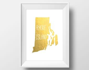 Rhode Island State Gold Foil Printable Art, Rhode Island Print, Rhode Island Art, Modern Art,