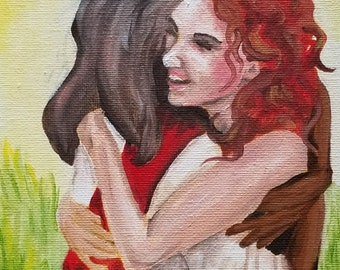 Meeting Jesus Original oil painting 5by7inch