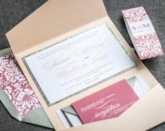 "Blush Wedding Invitations, Silver Glitter Wedding Invitations, Custom Invitation, Blush Pink Invitations - ""Classic Romance"" PF-1L SAMPLE"