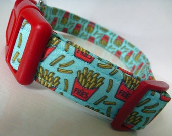"French Fries Dog Collar-Summer Dog Collar-Food Dog Collar Red Gold & Turquoise - Boy/Girl Dog Collar-""Golden Goodness""-Free Colored Buckles"