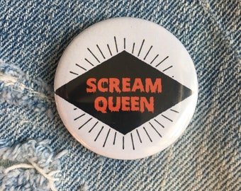 SCREAM QUEEN pin, scream queens button, chanels. chanel-oween 1.5 inch pin back button, 37 mm pinback button