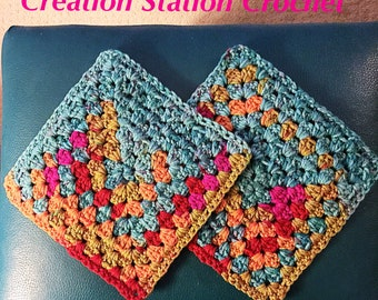 Beautiful 2 pack Handmade Pot Holders, Hot Pads, Crocheted, kaleidoscope
