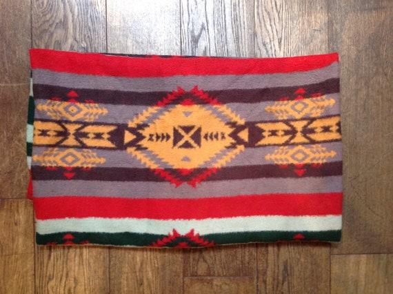 "Vintage Native American Pendleton style multicoloured fleece blanket throw rug picnic beach bed sofa car 60"" x 80"""