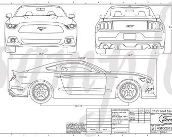 Mustang blueprint etsy mustang engineering drawing malvernweather Gallery