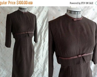 "ON SALE 60s Dress //  Vintage 1960's Brown Light Wool Wiggle Dress with Satin Trim by Ben Barrack New York Size M 27"" waist"