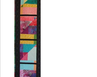 """CATHEDRAL WINDOW, 16 3/4"""" x 62"""" quilted table runner"""