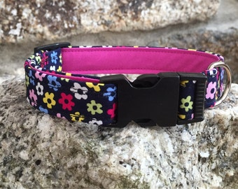 Flower Power Fabric Dog Collar Fully Lined XS-XL