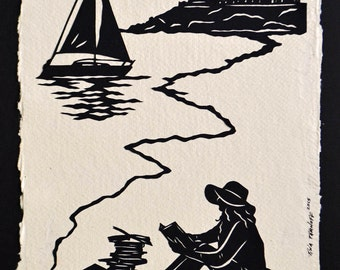 Hand-Cut Papercut Art - AFTERNOON READING on the BEACH - Girl Reading Silhouette
