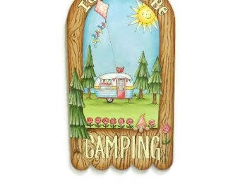I'd Rather Be Camping Sign | Hand Painted Camper Glamper Sign