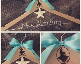 Wedding Hanger, Princess Hanger, Bride Hanger, Mermaid Wedding Hanger, Personalized Hanger, Bridal Hanger, Fairytale Wedding, Princess Theme