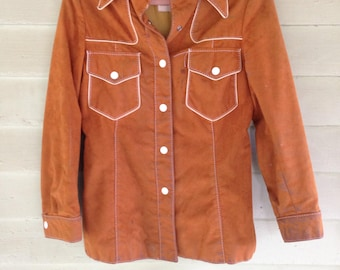 Mod Maid 60's Western Orange/Brown Button up Collared Jacket