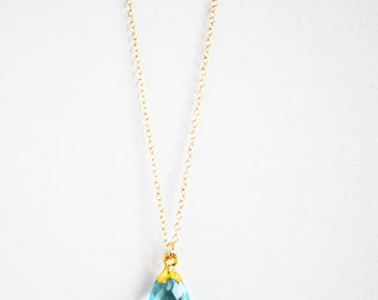 Blue Topaz Gold Necklace, Gemstone Necklace, Dainty Necklace, Layering Necklace, Gold Necklace