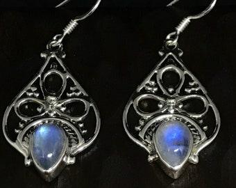 Moonstone Teardrop Earrings,Boho Jewelry,Moonstone Jewelry,Asian Jewelry,Anniversary,Jewelry Gift,Earrings,Silver Jewelry,Handmade jewelry