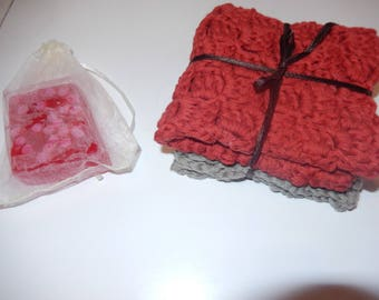 set of 2 crochet cotton wash cloths / face cloths / cotton dish cloths /  red & grey cloths / with strawberry scented homemade soap