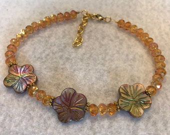 Orange AB Glass Beaded Anklet Adorned with Shell Plumiera Flowers