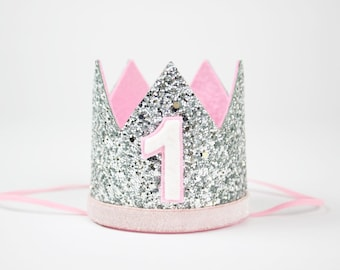 Smash Cake Crown | 1st Birthday Photo Prop | First Glitter Baby Girl Party Hat | Silver + Baby Pink 1