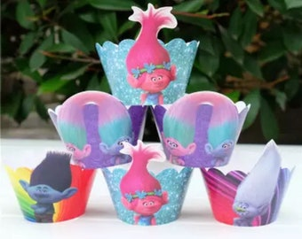 New 12 sets Trolls cupcake wrappers,trolls birthday party