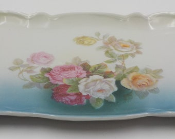 Porcelain Dresser Tray - Vanity Tray- Tray - Roses - Gorgeous - Made in Germany- Antique - Shabby Cottage