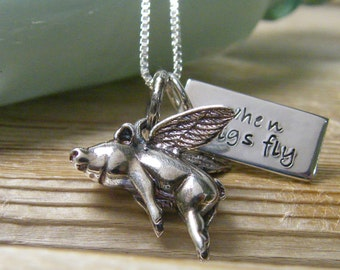 when pigs fly flying pig with hand stamped word tag sterling silver necklace