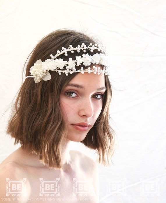 Black Flower Hair Accessory J7213: Vintage Wax And Silk Flower Headpiece Bridal Flower Crown Of