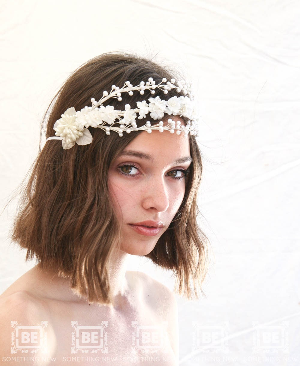 Vintage Wax And Silk Flower Headpiece Bridal Flower Crown Of