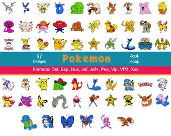57 Pokemon Machine Embroidery Designs, 4 Inch Hoop, Pikachu, Meowth, Squirtle, Bulbasaur, Charmander, Charizard, Instant Download