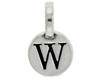 1 Round Silver Initial Charm 9mm Letter W by TIJC SPRW
