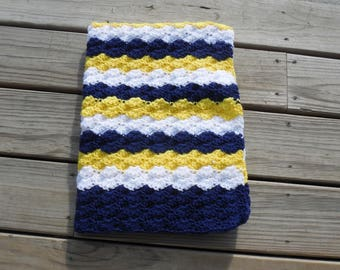 Baby Boy Navy Baby Navy Blue White and Lemon Yellow Crochet Baby Blanket Baby Afghan Crochet Photo Prop 24 x 32