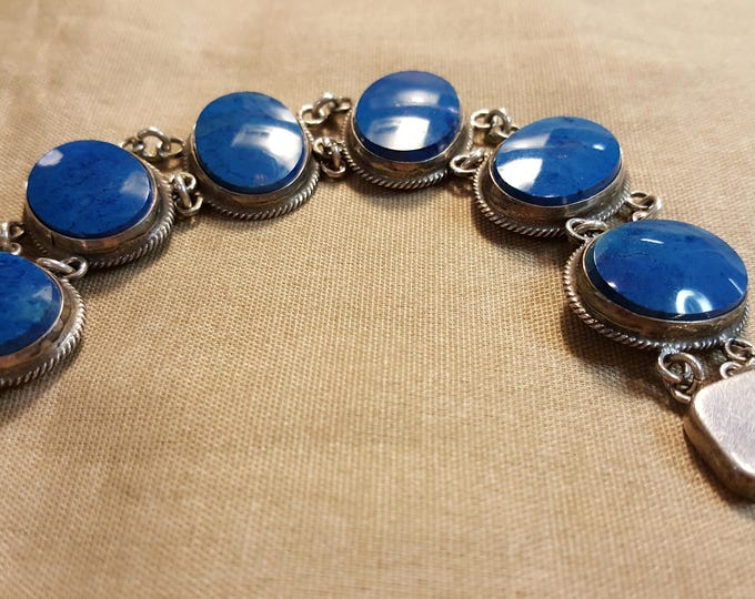 "On Sale - Sterling Silver Bracelet with Blue Stones Oval Cabs Vintage Short 6-1/2"" Circumference"