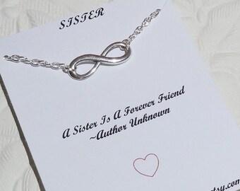 Sister Bracelet, Infinity Bracelet or Anklet In Silver, Eternity Bracelet, Friendship Bracelet, Best Friend, BFF Gift