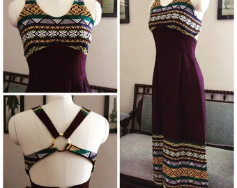 Embroidered Guatemalan maxi dress with open back detail.