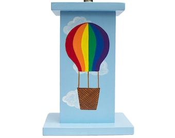 Custom Hand Painted Children's Lamp - Hot Air Balloon Transportation Vehicles or Any Kid's Theme