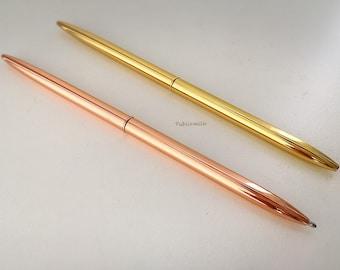 Ball point black ink pen, Gold pen, Writing Pen, Slim Pen, Desk Pen, Office Pen, Black Ink Pen