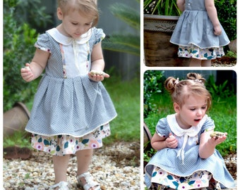The Josephine Pleated Dress PDF Sewing Pattern Size 12 month - 12 year Girls Toddler Tween