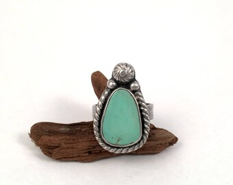 Turquoise Ring, Sterling Silver Ring, Natural Turquoise, Silver Ring, Silver Band Ring, Turquoise Jewelry, Blue Stone Ring, Gemstone Ring