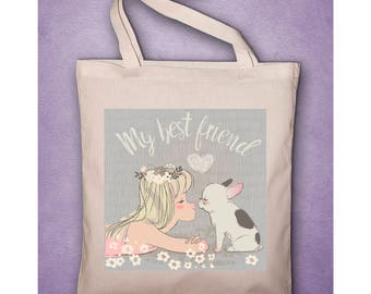 """My best friend french bulldog"" pouch or Tote Bag organic cotton french bulldog, blue, dog, Bulldog, little girl"