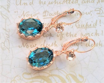 Rose Gold and Swarovski Crystal Earrings, Bridal Earrings, Bridesmaid Earrings, Rose Gold Bridal Earrings, Crystal and Rose Gold Earrings