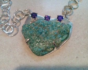 Green, Fuschite, Sterling Silver, Purple Faceted CZ's, Handmade, Necklace, Pendant, High Quality, Gift, Hand Polished,Natural  Druzy,