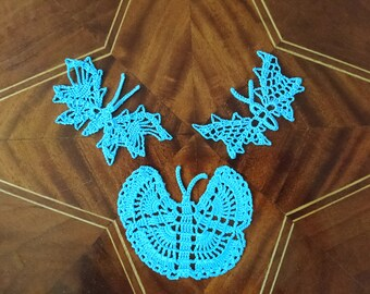 light blue butterflies in the 3er set, netting, crochet, handmade